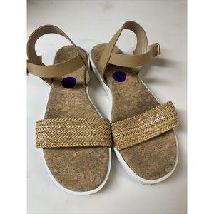 Mila Paoli Tan Leather Woven Strap Sandals 8.5